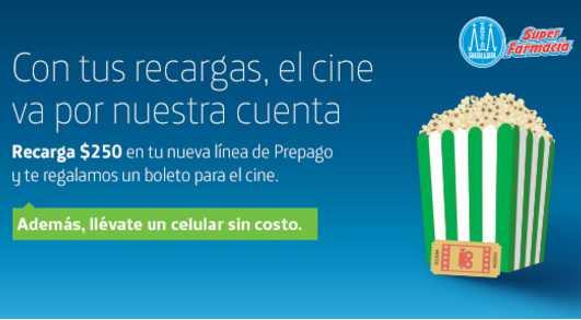 Promoción Movistar Farmacias Guadalajara Boleto Cine y Celular Gratis