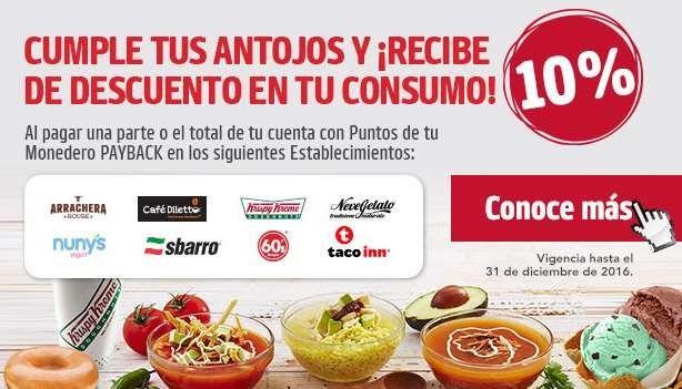 Promociones Monedero PayBack en Krispy Kreme, Sbarro, Diletto, Taco Inn