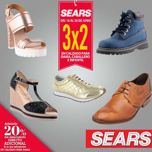Sears 3×2 en zapatos para dama, caballero e infantil