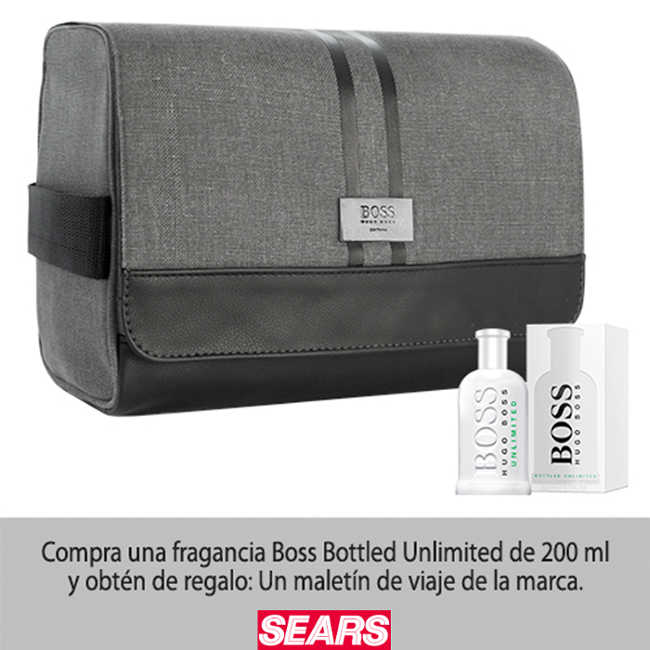 Sears Gratis maletín de viaje en la compra de fragancia Boss Bottled Unlimited 200 ml