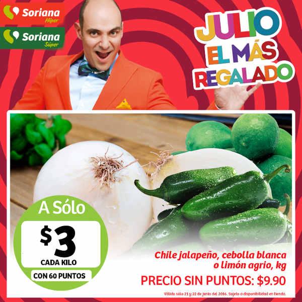 Frutas y verduras Soriana Junio