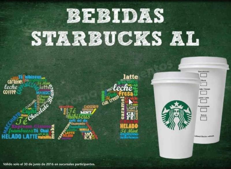 Starbucks 2×1 en todas las bebidas frías o calientes 30 junio
