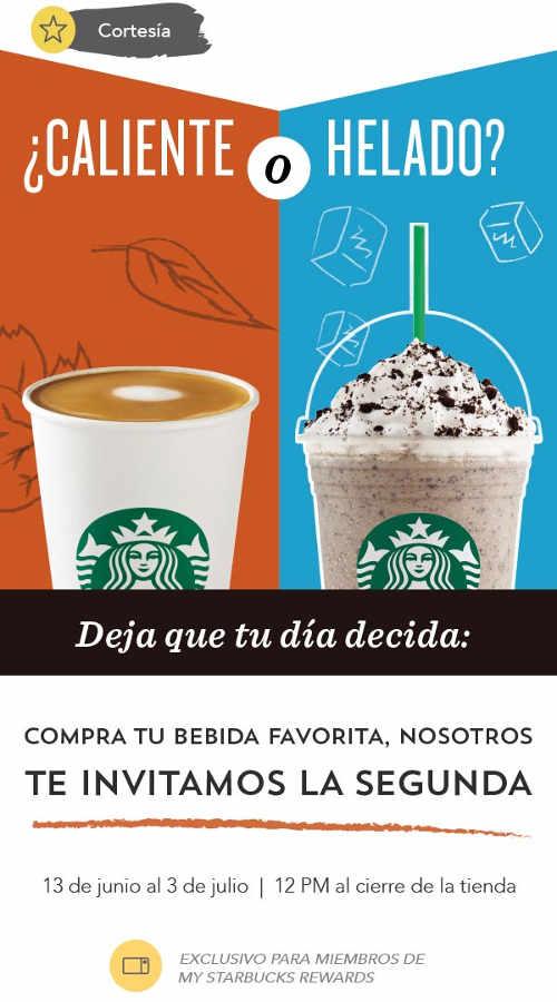 Starbucks 2x1 en bebida caliente o fría para miembros de My Starbucks Rewards