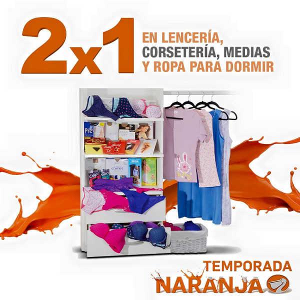 Temporada Naranja en La Comer 2×1 en lencería, corsetería, medias y pijamas