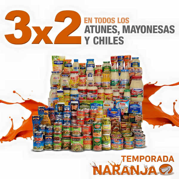 Temporada Naranja La Comer 3×2 en atún, mayonesas y chiles enlatados