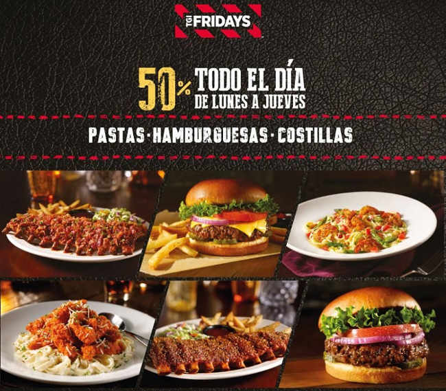 TGI Friday's descuentos en costillas, hamburguesas, pastas