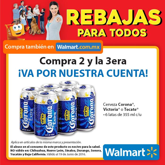Walmart 3×2 en six de cervezas tecate, corona o victoria