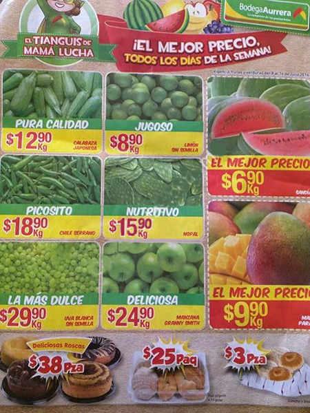 Frutas y verduras Bodega Aurrerá Julio 2016