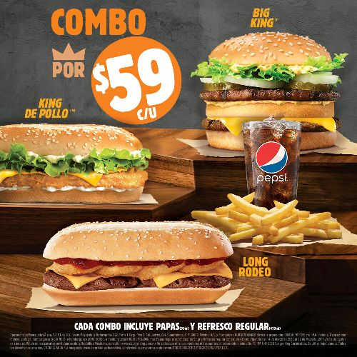 Burger King Combo King de Pollo, Big King o Long Rodeo + papas y refresco