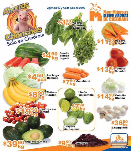 Frutas y verduras Chedraui Julio 2016