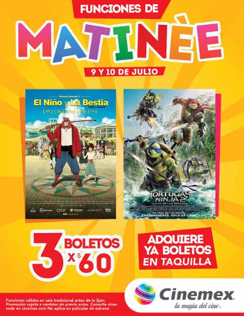 Cinemex Funciones Matinée 3 boletos por $60 para El Niño y la Bestia o Tortugas Ninja 2