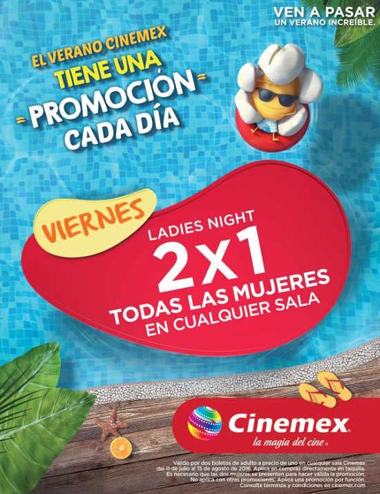 Cinemex viernes mujeres al 2x1 en todos los formatos y salas