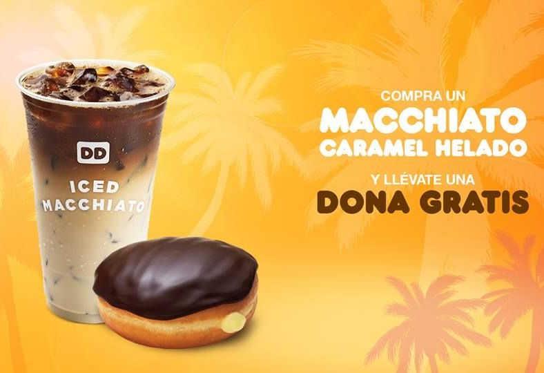 Dunkin Donuts dona gratis comprando macchiato caramel helado