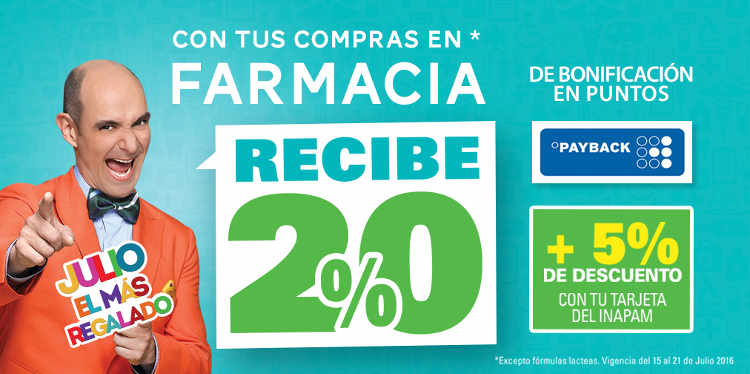 Julio Regalado 2016 20% de bonificación de dinero electronico en farmacia