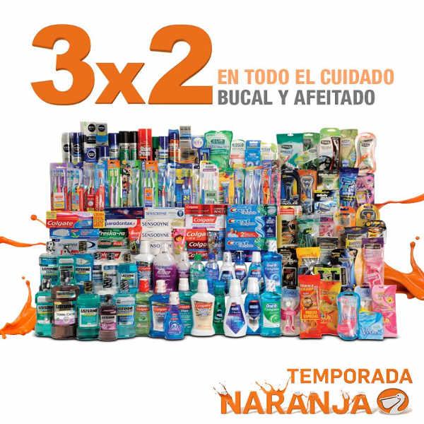 Temporada Naranja en La Comer 3×2 en higiene bucal y afeitado