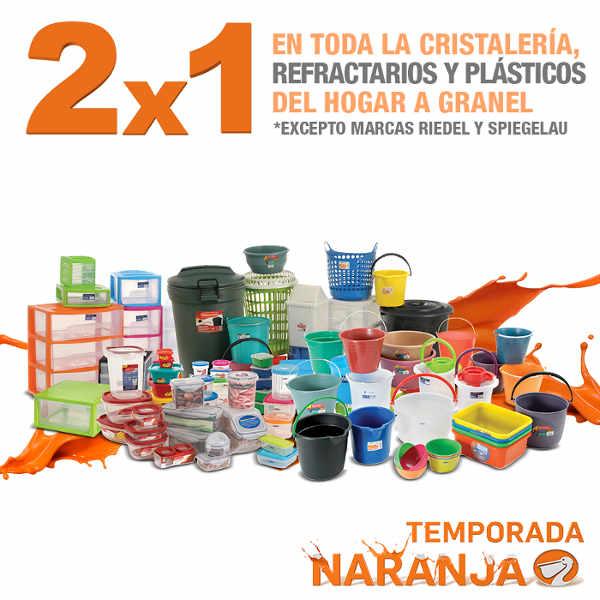 Temporada Naranja en La Comer 2x1 en cristalería, refractarios y plásticos