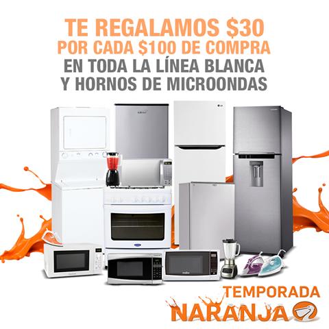 Temporada Naranja en La Comer descuentos en Linea Blanca y Microondas