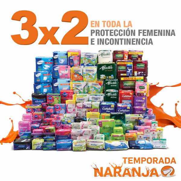 Temporada Naranja en La Comer 3×2 en protección femenina e incontinencia