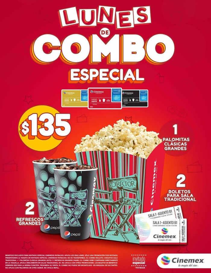Lunes de combo especia en Cinemex 2 boletos, palomitas y 2 refrescos grandes