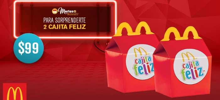 McDonald's 2 cajita feliz de hamburguesa con queso por $99