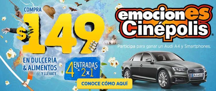 Promoción Emociones Cinépolis 2016 Boletos al 2×1, Smarphones y Audi A4