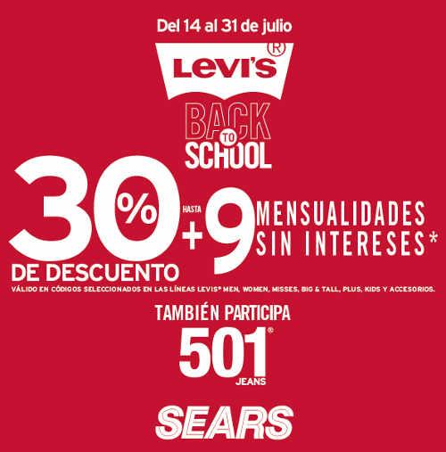 Sears descuentos y meses sin intereses en Levi's del 14 al 31 de julio