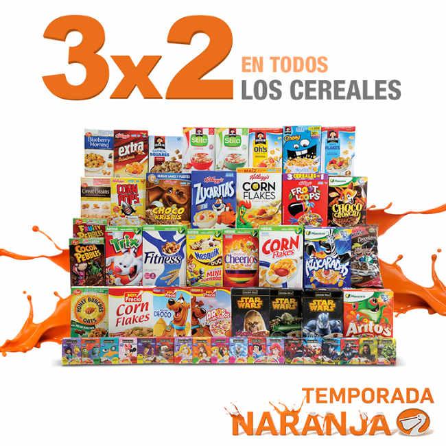 Temporada Naranja en La Comer 3×2 en todos los cereales