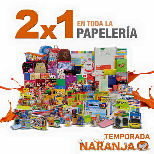Temporada Naranja en La Comer 2×1 en papelería