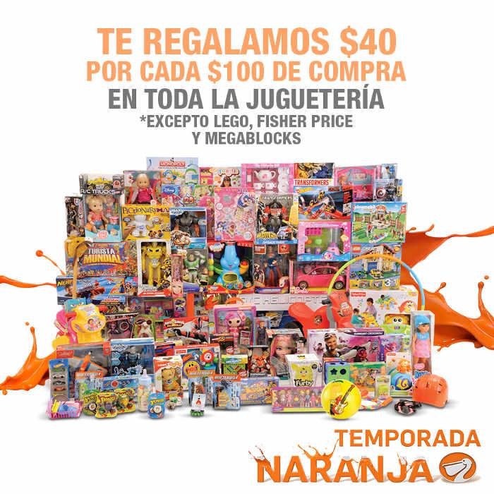 Temporada Naranja La Comer $40 de descuento por cada $100 en Juguetería