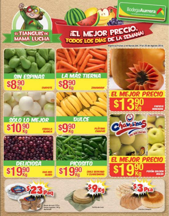 Bodega Aurrera frutas y verduras tianguis de mamá