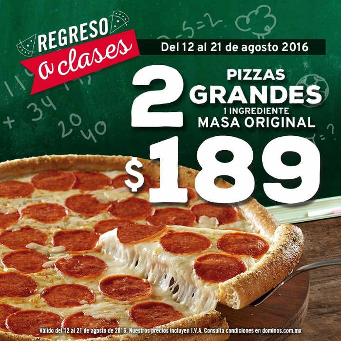 Domino's Pizza 2 pizzas grandes de 1 ingrediente a $189