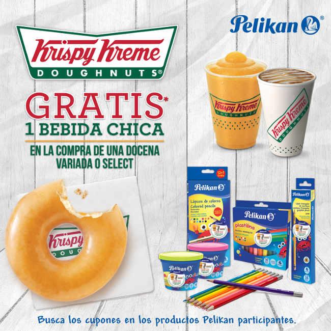 Krispy Kreme bebida gratis comprando productos Pelikan