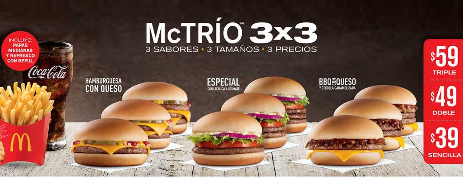 McDonald's nuevos McTríos 3x3 (hamburguesa + papas medianas + refresco refill)
