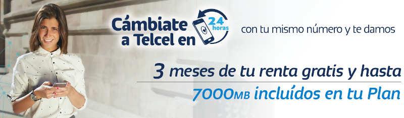 Cámbiate Telcel y obtén 3 meses de rentas gratis + 7000 MB