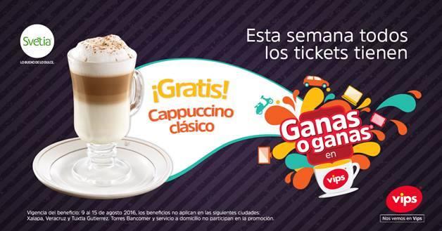 Promoción Vips Ganas o Ganas Gratis Cappuccino