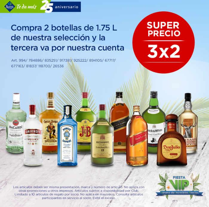 Sams Club: 3×2 En Botellas De Licores De 1.75 Litros
