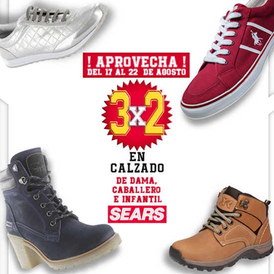 Sears 3×2 en calzado de dama, caballero e infantil