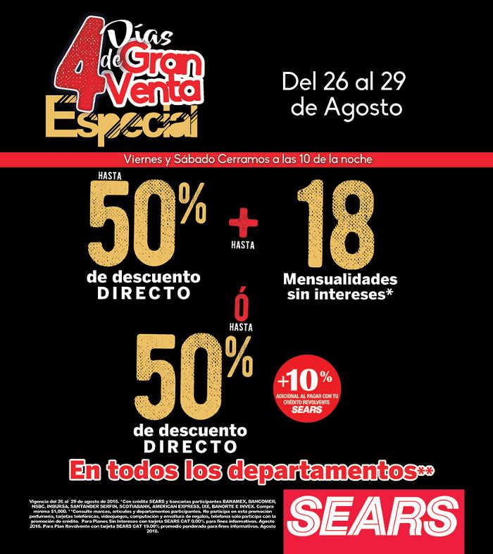 4 días de Gran Venta Especia Sears