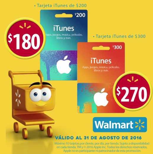 Walmart descuentos en tarjetas iTunes