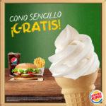 Burger King: cono gratis para estudiantes comprando combo