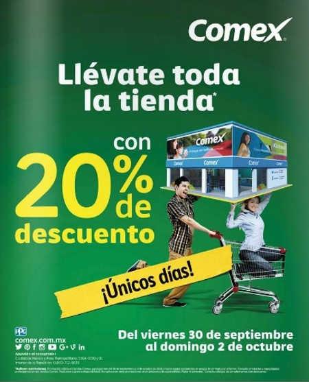 Comex: 20% de descuento en toda la tienda al 2 de octubre