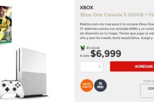 Elektra Xbox One S 500 GB + Juego Gratis $6,999