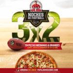 Papa John's 3x2 en pizzas jueves, domingos y lunes por la NFL