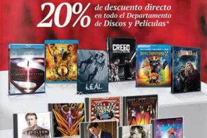 Sanborns 20% de descuento en películas y discos