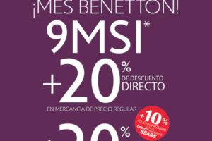 Sears 20% de descuento y 9 meses sin ineterses en Benetton