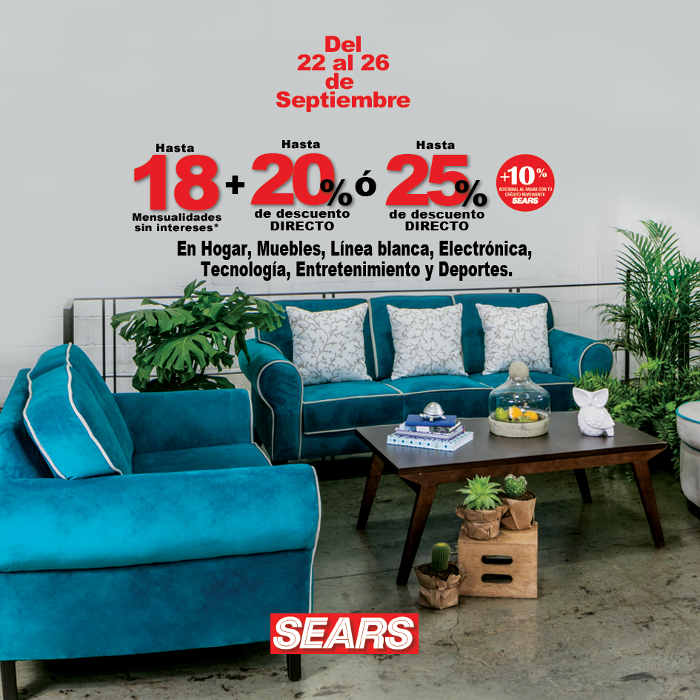 Sears: 25% de descuento en Hogar, Muebles, Línea blanca, Electrónica ...