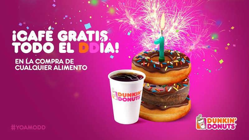 Promoción de Aniversario Dunkin Donuts Café GRATIS