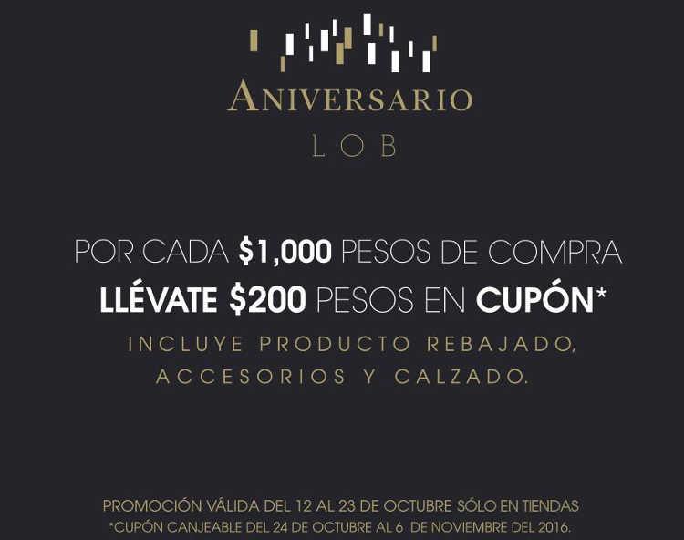 Promoción de Aniversario LOB Cupón de $200 en toda la tienda