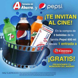 Promoción Pepsi y Farmacias del Ahorro Boletos de Cinemex GRATIS