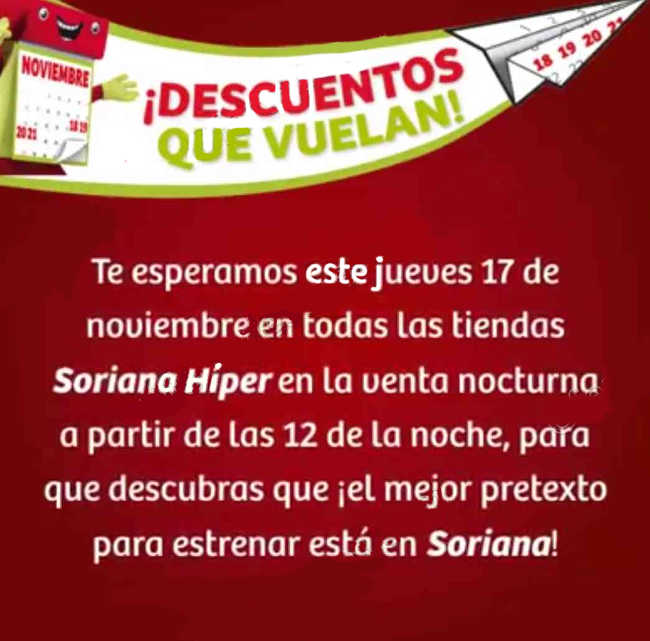 Venta Nocturna Soriana 17 de Noviembre 2016